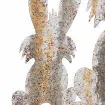 Påske dekorasjon kanin med barn å stikke rust bjørk utseende metall 25 × 32cm