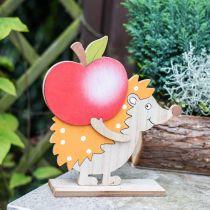 Høstfigur, pinnsvin med eple og sopp, trepynt oransje / rød H24 / 23,5 cm sett med 2