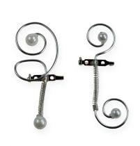 Bryllupsnåler med perler, sølv 8cm 24stk