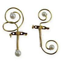 Bryllupsnåler med perler, gull 8cm 24stk
