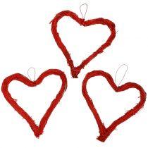 Bast hjerter å henge rød 10cm 12stk