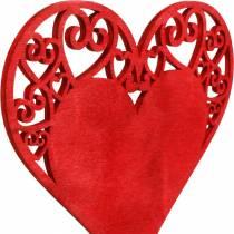 Hjerte på pinnen, dekorativt plugg hjerte, bryllupsdekorasjon, Valentinsdag, hjerte dekorasjon 16stk