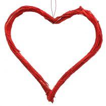 Bast hjerte å henge rødt 20cm 6stk