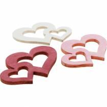 Trehjerter, gaver til bordpynt, Valentinsdag, bryllupsdekorasjoner, dobbelt hjerte 72stk