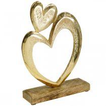 Metallhjerte gyldent, dekorativt hjerte på mangotre, borddekorasjon, dobbelt hjerte, Valentinsdag