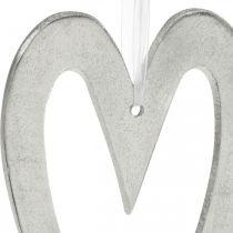 Dekorativt hjerte for hengende sølv aluminium bryllupsdekorasjon 22 × 12cm