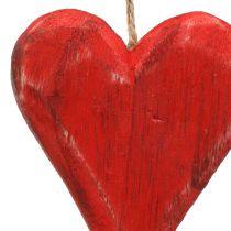 Trehjerter for å henge rødt, hvitt 11,5cm 4stk