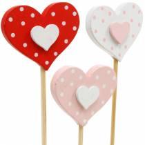 Dekorativt plugghjerte, bryllupsdekorasjon, blomsterdekorasjon til Valentinsdag, hjertedekorasjon 24stk