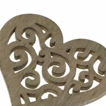 Borddekorasjon hjerte tre hvit, krem, brun 4cm 72p