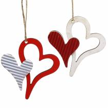 Hjerteanheng i trerødt, hvitt 8cm 24stk