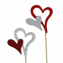 Hjertestifter i tre, røde, hvite 38cm 12stk