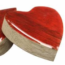 Hjerter laget av mangotre glassert naturlig, rød 4,3 cm × 4,6 cm 16p