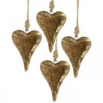 Trehjerter med gullinnredning, mangotre, dekorative anheng 10cm × 7cm 8stk