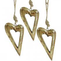 Deco hjerte, mango tre gull effekt, tre dekor til å henge 13,5 cm × 7 cm 4 stk