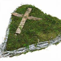 Gravdekorasjon hjerte vinstokker, mose med kors for gravordning 30 × 20cm