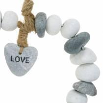 """Hjerte å henge """"Kjærlighet"""" laget av elvesten Natur, grå / hvit Ø18cm 1 stk"""