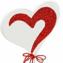 Hjerte på pinnen rød, hvit Dekoherz Dekostecker Valentinsdag 16stk