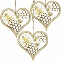 Dekorative hjertebier gule, gyldentrehjerte for hengende sommerdekorasjon 6stk