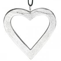 Hjerte å henge, metallpynt, jul, bryllupsdekorasjon sølv 11 × 11cm