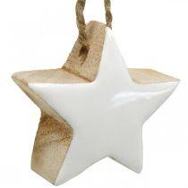 Juletrepynt treblanding hjerte stjerne gran hvit, natur 5cm 27p
