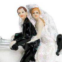 Bryllupsfigur brudepar på motorsykkel 9 cm