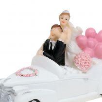 Bryllupsfigur brudepar i bilen 16cm