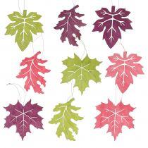 Wood Leaves Mix for hengende forskjellige farger 15cm 9stk
