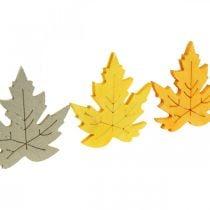 Dryss dekorasjonshøst, lønneblader, høstløv gyldne, oransje, gule 4cm 72p