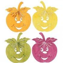 Streudeko -ler -eple, høst, borddekorasjon, krabbe -eple -appelsin, gul, grønn, rosa H3,5cm B4cm 72stk.