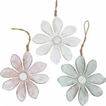 Treblomster å henge, sommer, blomster i pastellfarger, vårdekorasjon Ø16cm 3stk