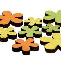 Treblomst 2-3,5cm oransje, grønn, gul 36stk