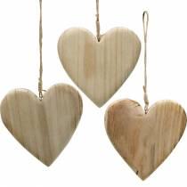 Trehjerte for å henge natur dekorative hjerter Valentinsdag morsdag 3stk