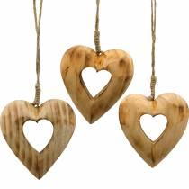 Dekorativt anheng hjerte, tre hjerte, Valentinsdag, tre anheng, bryllup dekorasjon 6stk