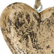 Hjerte å henge tre gylden vintage henger 15cm