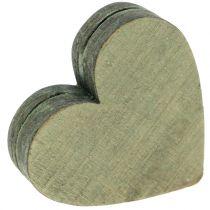 Trehjerter grå / rød / grønn 3-6,5cm 8stk
