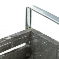 Treboks grå 20cm x 9cm H6cm med håndtak