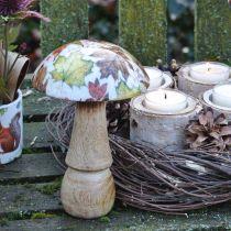 Soppdekorasjon av tre høstløv hvit, fargerik soppborddekorasjon Ø10cm H15cm