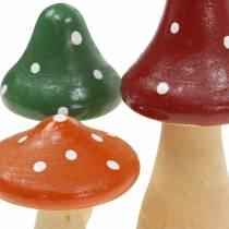 Dekorative paddehatter laget av tre oransje, grønn, rød 6/8 / 10,5cm 9stk