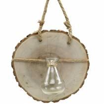 Treskive med glassvase for henging av Ø22cm