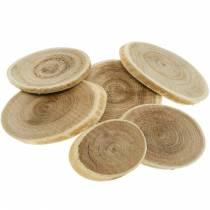 Dekorative treskiver ovale naturskiver Ø4-7cm tredekor 400g