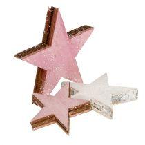 Trestjerne 3-5cm rosa / hvit med glitter 24stk