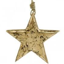 Hengende stjerne, tredekor med gulleffekt, advent 14cm × 14cm