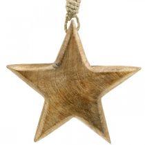 Dekorativ stjerne, trevedheng, julepynt 14cm × 14cm