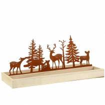 Trebrett skog med dyr 35cm x 15cm