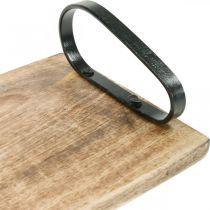 Trebrett, dekorativt brett med metallhåndtak, borddekorasjon L44cm