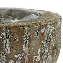 Plantegryte i tre hvitvasket Ø20cm H10cm