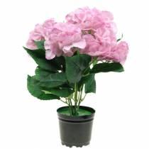 Hortensia i en gryte Kunstig rosa 35cm