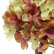 Hortensia haug kunstige blomster rosa, gul 28cm