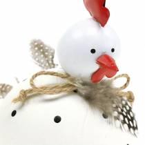 Dekorativ figur kyllinghvit med prikker og fjær H13cm