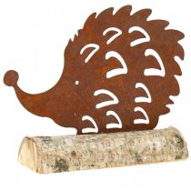 Pinnsvin patina på trebunnen 26cm x 18cm